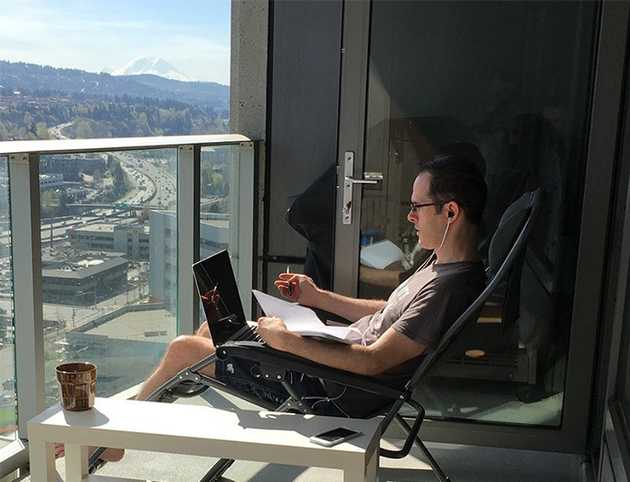 Doing some work from the balcony in beautiful Bellevue, WA.